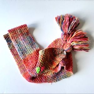 Free People Long Skinny Knit Rainbow Ombré Scarf